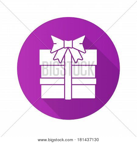 Gift box flat design long shadow icon. Present box with bow and ribbon. Vector silhouette symbol