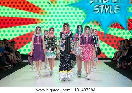 ZAGREB, CROATIA - APRIL 1, 2017: Fashion models wearing clothes BiteMyStyle by Zoran Aragovic from the spring/summer collection at the 'Fashion.hr' fashion show