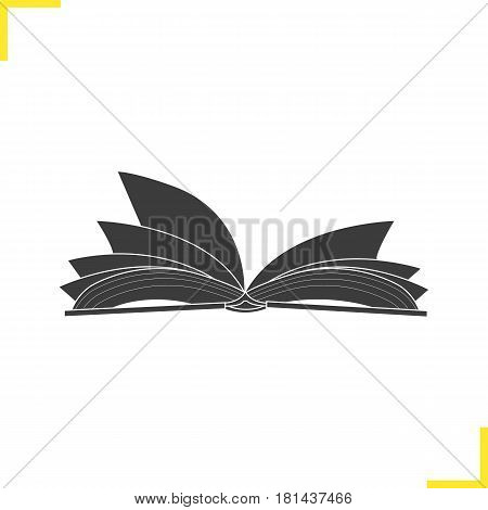Open book illustration. Silhouette symbol. Open textbook. Negative space. Vector isolated icon
