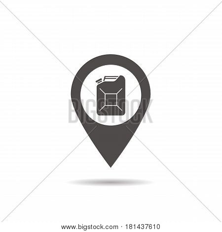 Nearby gas station location glyph icon. Drop shadow map pointer silhouette symbol. Petrol can pinpoint. Vector isolated illustration