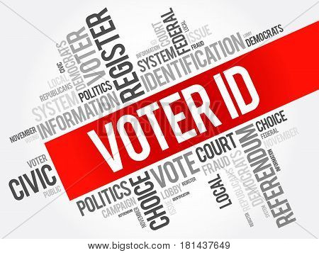 Voter ID word cloud collage social concept background poster