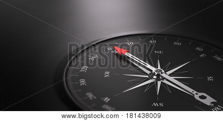 3D illustration of a compass over black background and pointing the north direction free space on the left side of the image. Business orientation concept.