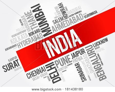 List of cities in India word cloud collage business and travel concept background