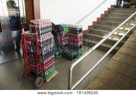 Transportation mover use cart moving carbonated drink or soft drink shipping to local shop at Wat Phra That Doi Suthep on December 28 2016 in Chiang Mai Thailand