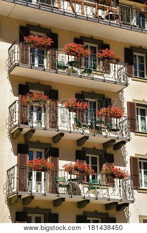 Chalet And Flowers On Balconies At Zermatt Village Switzerland