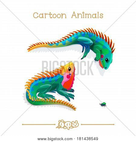 Toons series cartoon animals: multicolored iguanas and bug