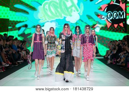 ZAGREB, CROATIA - APRIL 1, 2017: Fashion models wearing clothes 'BiteMyStyle by Zoran Aragovic' from the spring/summer collection at the 'Fashion.hr' fashion show