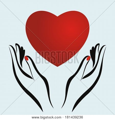 Vector logo with two hands holding heart. Concept of love care family safety insurance help share empathy forgiveness giving donation charity