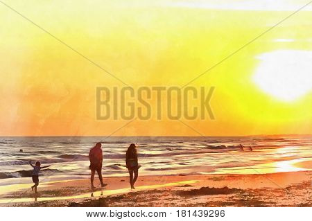 Landscape colorful painting with people walking on the beach at sunset