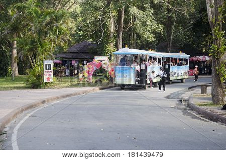 Thai people driving tramcar for send and receive traveler people at Thai Elephant Conservation Center Lampang at Hang Chat on December 28 2016 in Lampang Thailand
