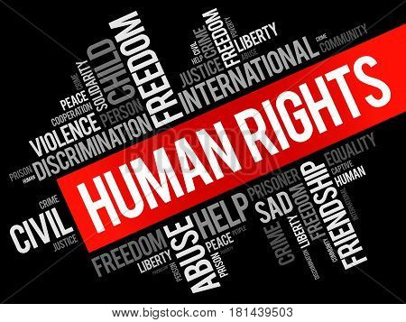 Human rights word cloud collage social concept background