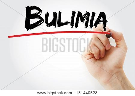 Hand Writing Bulimia With Marker