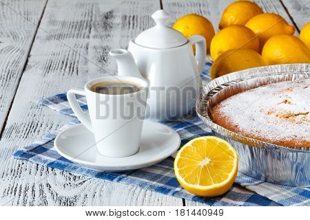Semolina Cake on table with cup of coffee