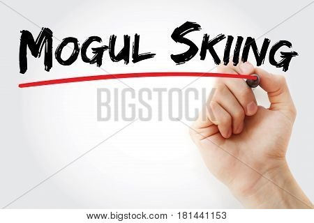 Hand Writing Mogul Skiing With Marker