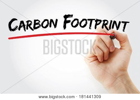 Hand Writing Carbon Footprint With Marker