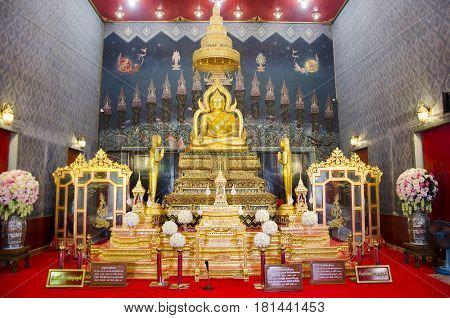 Buddha Statue Name Luang Pho Phet In Ubosot For People Praying And Respect At Wat Tha Luang
