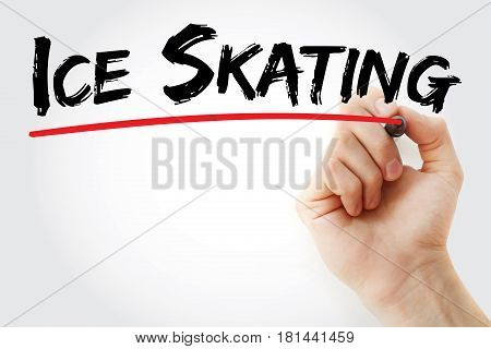 Hand Writing Ice Skating With Marker