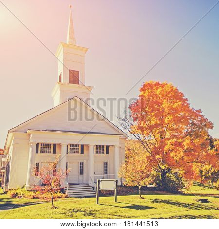 New England Church in the Vermont Fall
