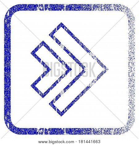 Direction Right textured icon for overlay watermark stamps. Blue vectorized texture. Flat vector symbol with dirty design inside rounded square frame. Framed blue rubber seal stamp imitation.