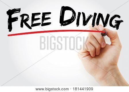 Hand Writing Free Diving With Marker