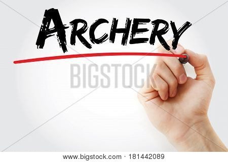 Hand Writing Archery With Marker
