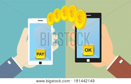 Hands holding smart phone with banking payment app. Money transfer. Currency exchange. People sending and receiving money wireless with mobile phones. Flat style concept vector illustration. Remittance