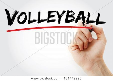 Hand Writing Volleyball With Marker