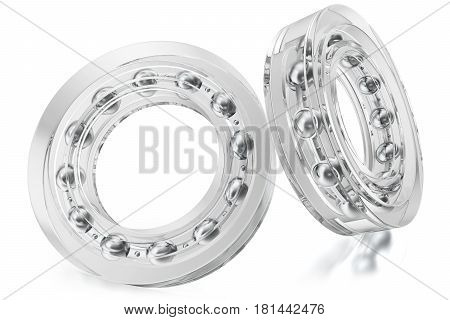Glass bearings, transparent. 3D rendering on a white background