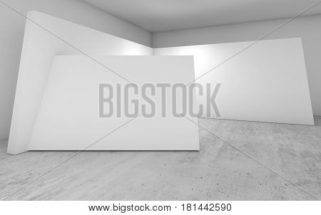 Abstract Empty Interior, White 3D Walls Decoration