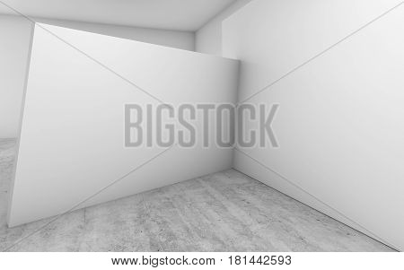 Abstract Empty Interior, 3 D White Walls Installation