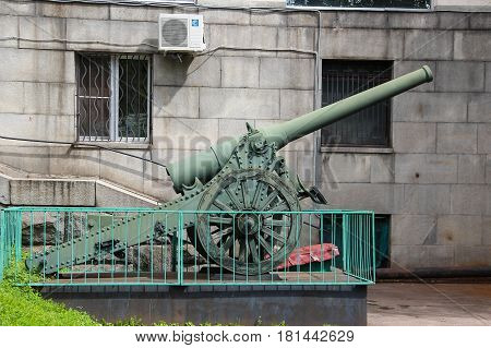 MOSCOW, RUSSIA - Jul 19 2015, Soviet historical 152 mm cannon high power, model 1935 at the Central Museum of Armed forces, on Jul 19 2015 in MOSCOW, RUSSIA