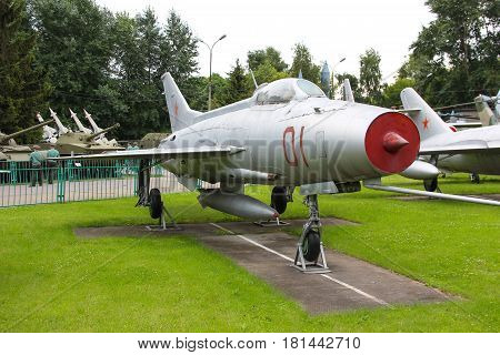 MOSCOW, RUSSIA - Jul 19 2015, Soviet historical MiG-17 at the Central Museum of Armed forces, on Jul 19 2015 in MOSCOW, RUSSIA