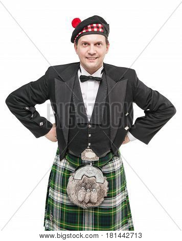 Handsome Man In Clothing For Scottish Dance