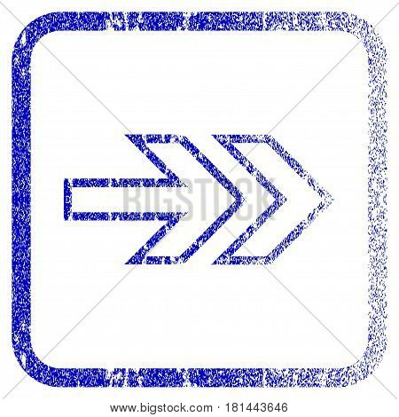 Direction Right textured icon for overlay watermark stamps. Blue vectorized texture. Flat vector symbol with scratched design inside rounded square frame. Framed blue rubber seal stamp imitation.