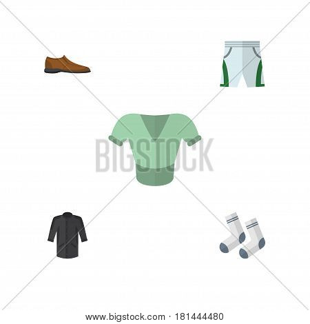 Flat Clothes Set Of Foot Textile, Casual, Trunks Cloth And Other Vector Objects. Also Includes Shoe, Blouse, Trunks Elements.