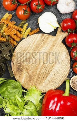 Assortment Of Fresh Vegetables (pepper, Cherry Tomatoes, Onions, Garlic, Spinach), Various Vegetable