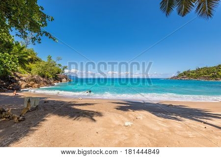 Anse Major Mahe Seychelles - December 16 2015: People enjoy the wild Anse Major beach in Mahe Island Seychelles Indian Ocean Eastern Africa.