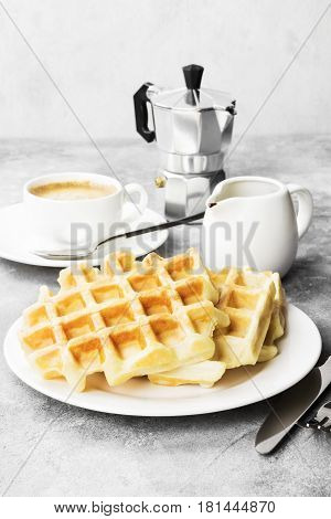 Waffles On White Plate, Coffee, Sauce-boat With Chocolate On A Light Background