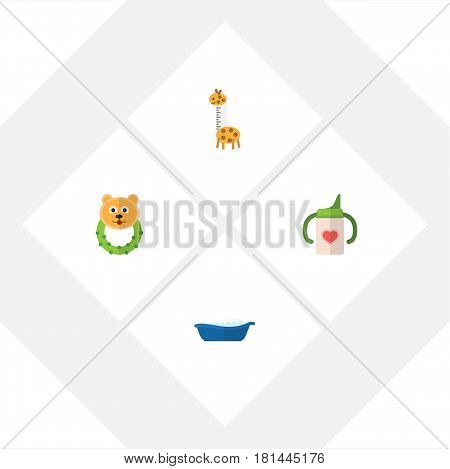 Flat Baby Set Of Rattle, Toy, Nursing Bottle And Other Vector Objects. Also Includes Bathing, Baby, Bottle Elements.