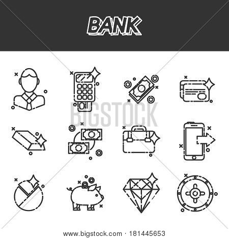 Bank and finance flat icons set for website and mobile site and apps. Vector illustration, EPS 10