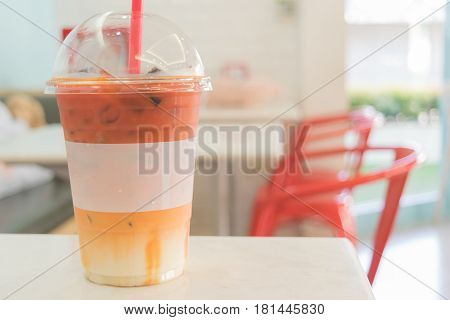 Cold drink milk tea In a candy store