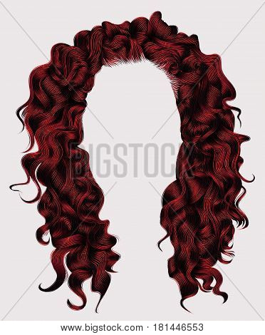 long curly hairs rad colors . beauty fashion style . wig .