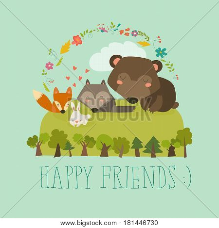 Happy friends in the forest. Bear, fox, rabbit wolf. Vector illustration