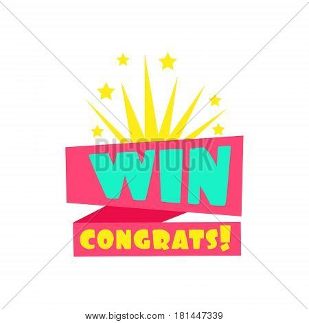Win Congratulations Sticker Design Template For Video Game Winning Finale With Fireworks. Graphic Flat Vector Message With Text Saying Win Congrats And Victory Symbols