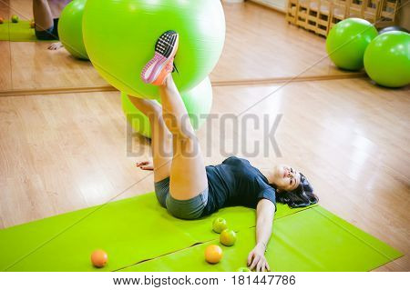 Fitness Girl With Fruits, Lifestyle In Losing Weight And Diets, Proper Nutrition, Exercise