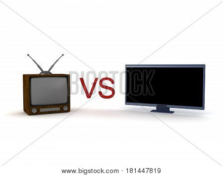 3D illustration of old retro cathode ray tube television and new led lcd HDTV. They're pitted against each other.