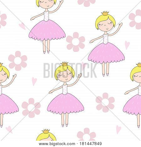 Cute hand drawn with cute little girl vector seamless pattern illustration.