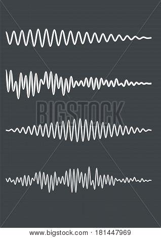 Zig-zag wavy lines as a sound track or cardiogram. Vector illustration. Equalizer audio player icon