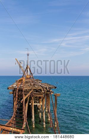 Derelict Pier at Xeros old Mining Port Cyprus in Portrait