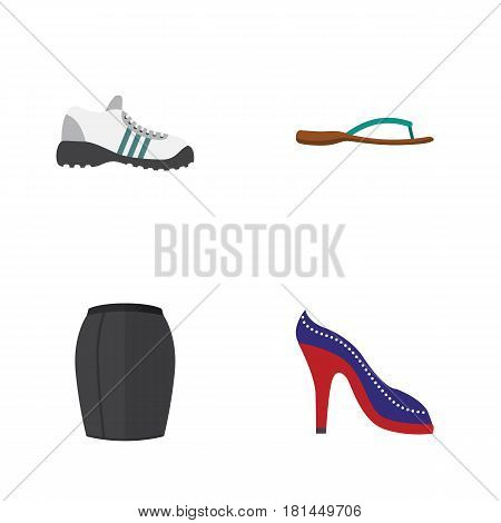 Flat Garment Set Of Stylish Apparel, Sneakers, Beach Sandal Vector Objects. Also Includes Sneakers, Skirt, Heeled Elements.
